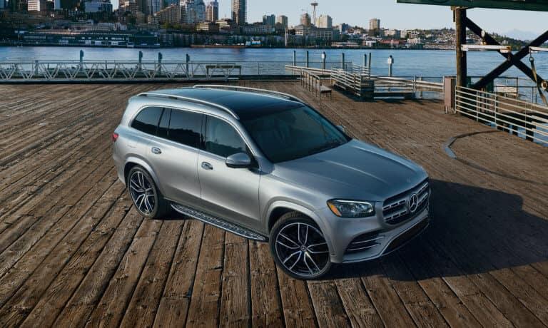 2021 Mercedes-Benz GLS SUV exterior on dock