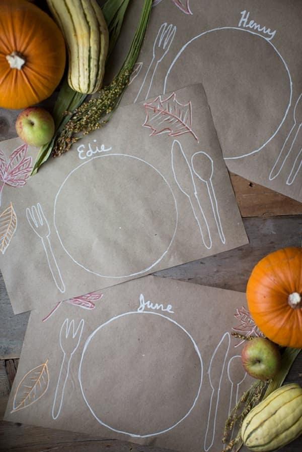 DIY Thanksgiving Kids Table Placemats