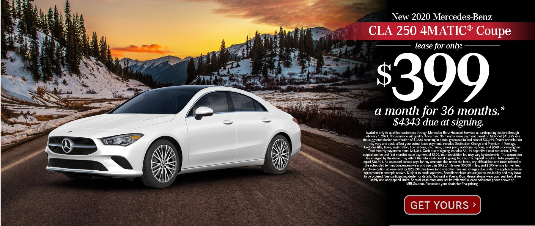 New 2021 Mercedes-Benz CLA 250 4MATIC® Lease for only: $399 a month for 36 months. $4343 due at signing. Get Yours.
