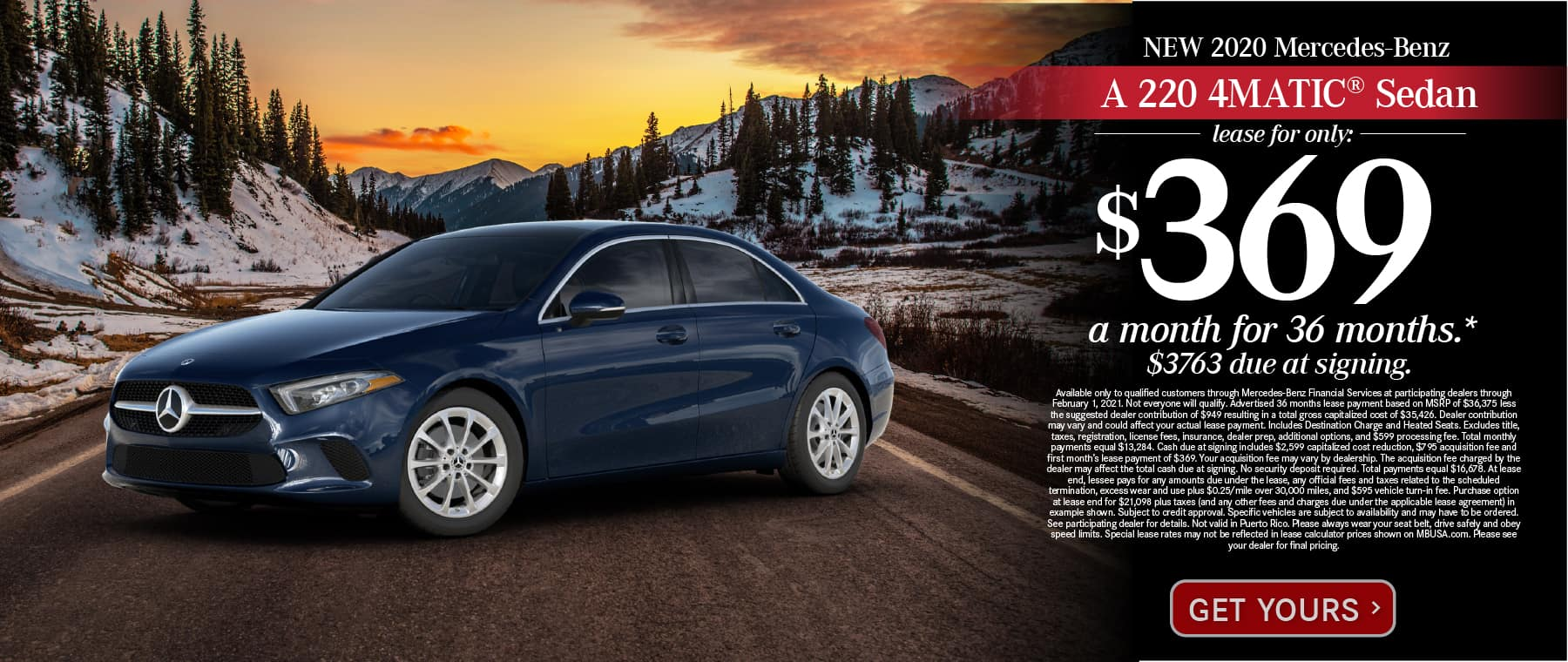 New 2021 Mercedes-Benz A 220 4MATIC® Lease for only: $369 a month for 36 months. $3673 due at signing. Get Yours.