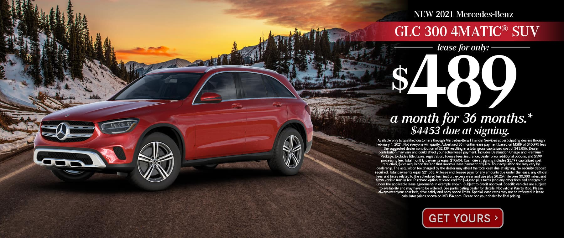 New 2021 Mercedes-Benz GLC 300 4MATIC® Lease for only: $489 a month for 36 months. $4453 due at signing. Get Yours.