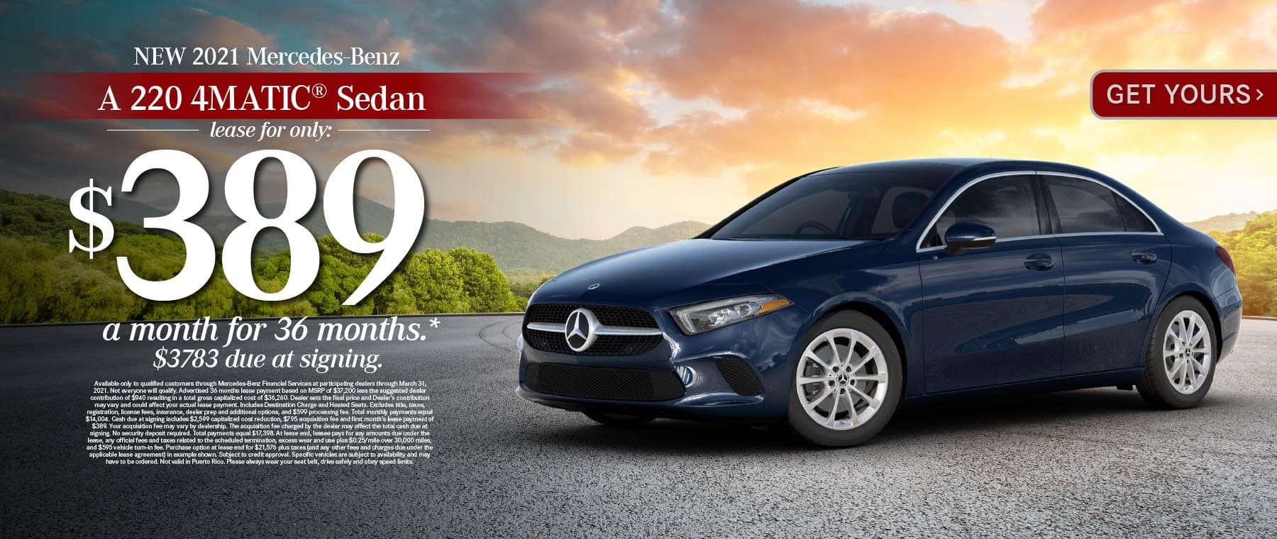New 2021 Mercedes-Benz A 220 4MATIC® Lease for only: $389 a month for 36 months. $3783 due at signing. Get Yours.