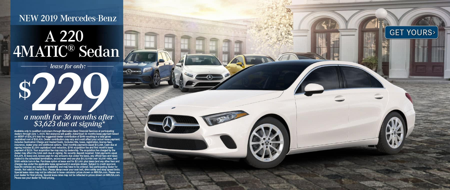2019 Mercedes-Benz A220 Sedan $229 a month for 36 months after $3623 due at signing. Get Yours.