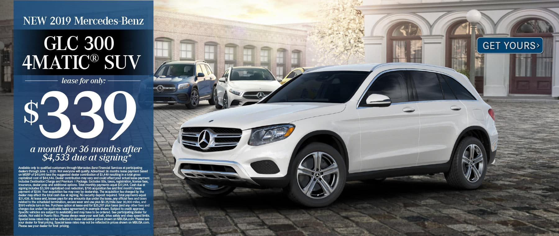 2019 Mercedes-Benz GLC 300 $339 a month for 36 months after $4533 due at signing. Get Yours.