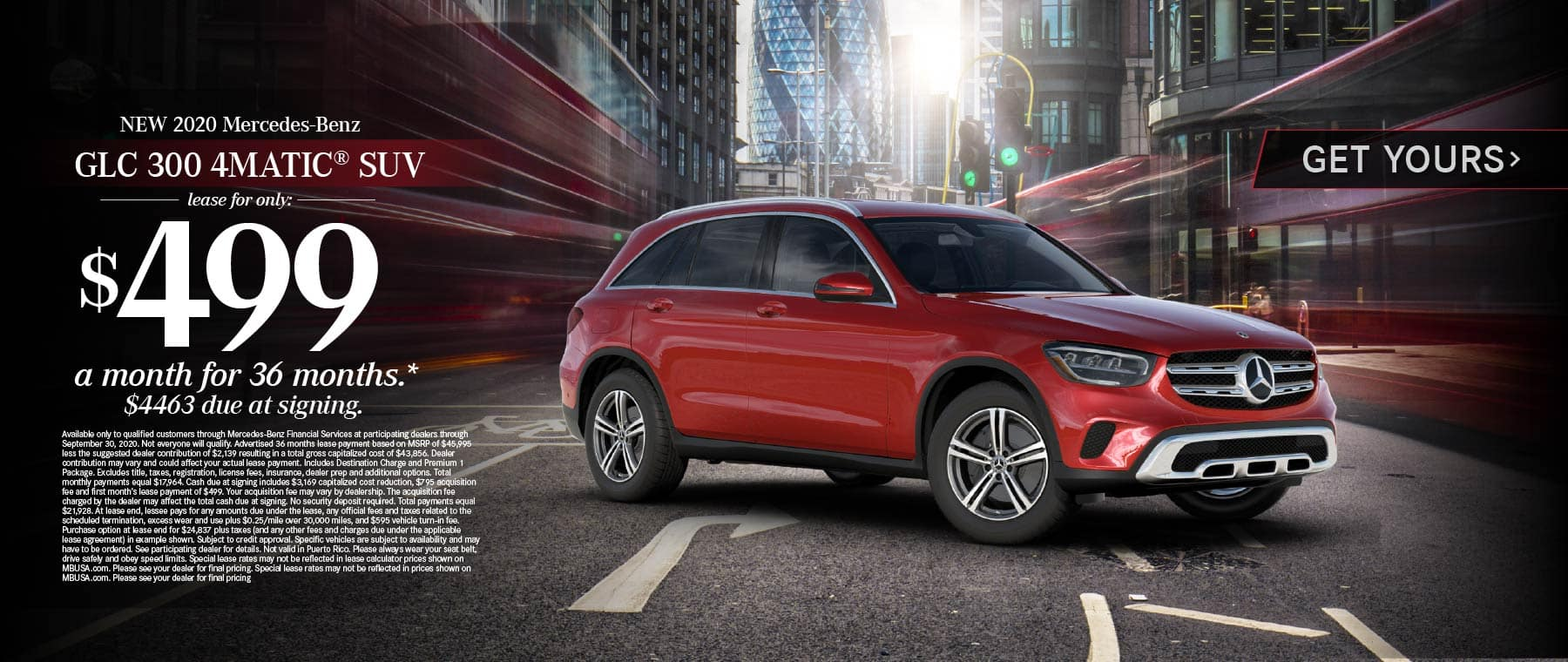 2020 Mercedes Benz GLC 300 4MATIC SUV lease for only: $499 a month for 36 months* Get Yours