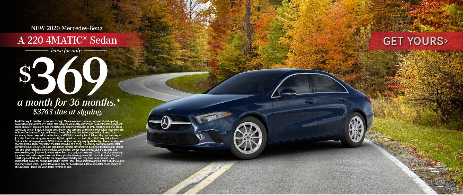 2020 Mercedes Benz A220 4MATIC Sedan lease for only: $369 a month for 36 months* Get Yours.