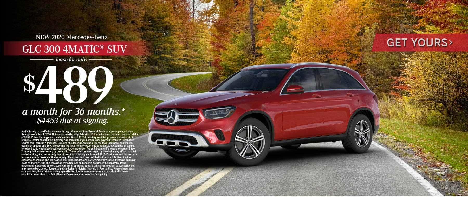 2020 Mercedes Benz GLC 300 4MATIC SUV lease for only: $489 a month for 36 months* Get Yours