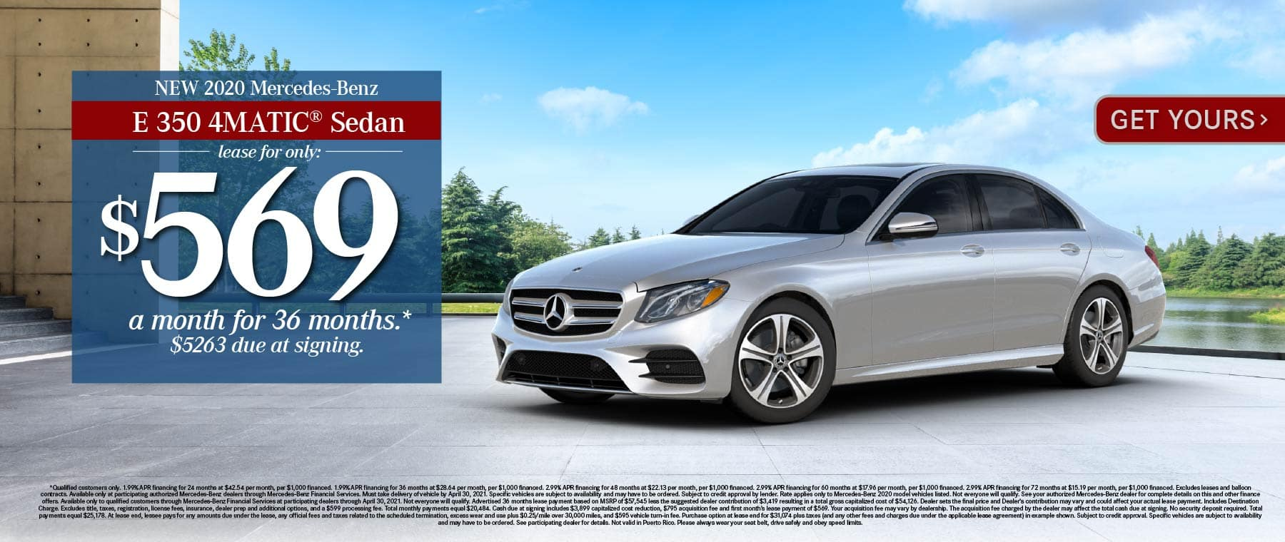 New 2021 Mercedes-Benz E 350 4MATIC® Lease for only: $569 a month for 36 months. $5263 due at signing. Get Yours.