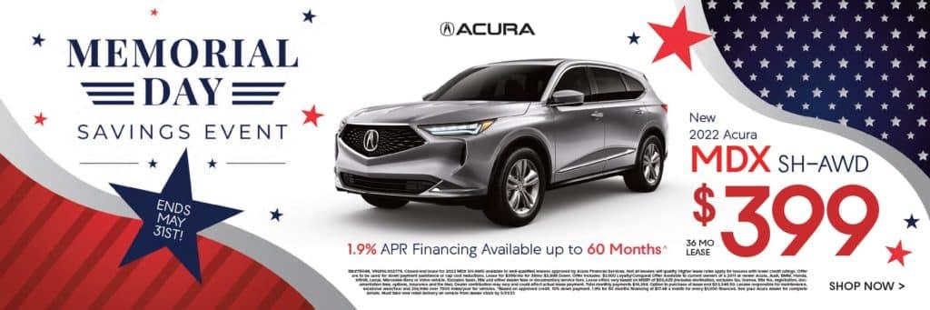New 2022 Acura MDX SH-AWD $399/36 mo.