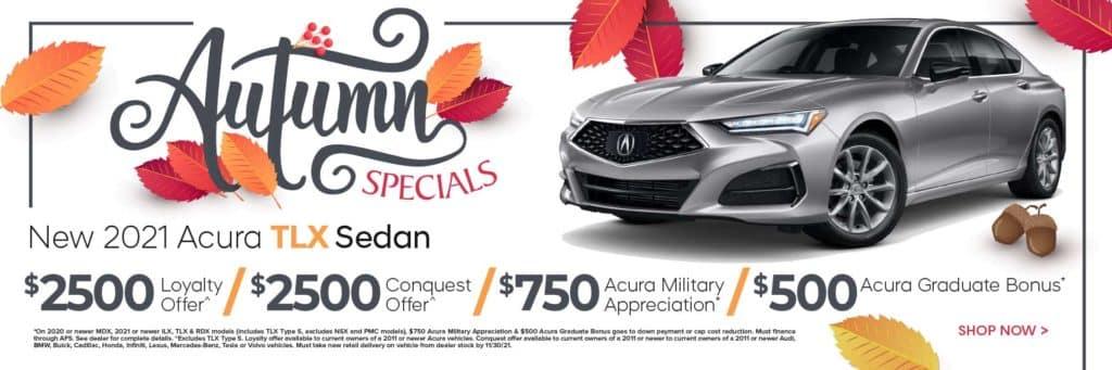 New 2021 Acura TLX Sedan $2,500 Loyalty Offer^ / $2,500 Conquest Offer^ / $750 Acura Military Appreciation* / $500 Acura Graduate Bonus*