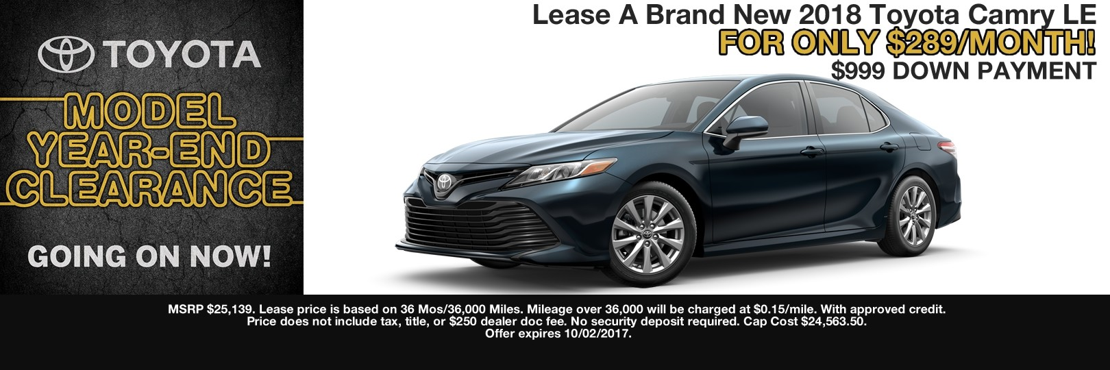 2018 CAMRY LEASE SPECIAL CAIN TOYOTA NORTH CANTON OHIO