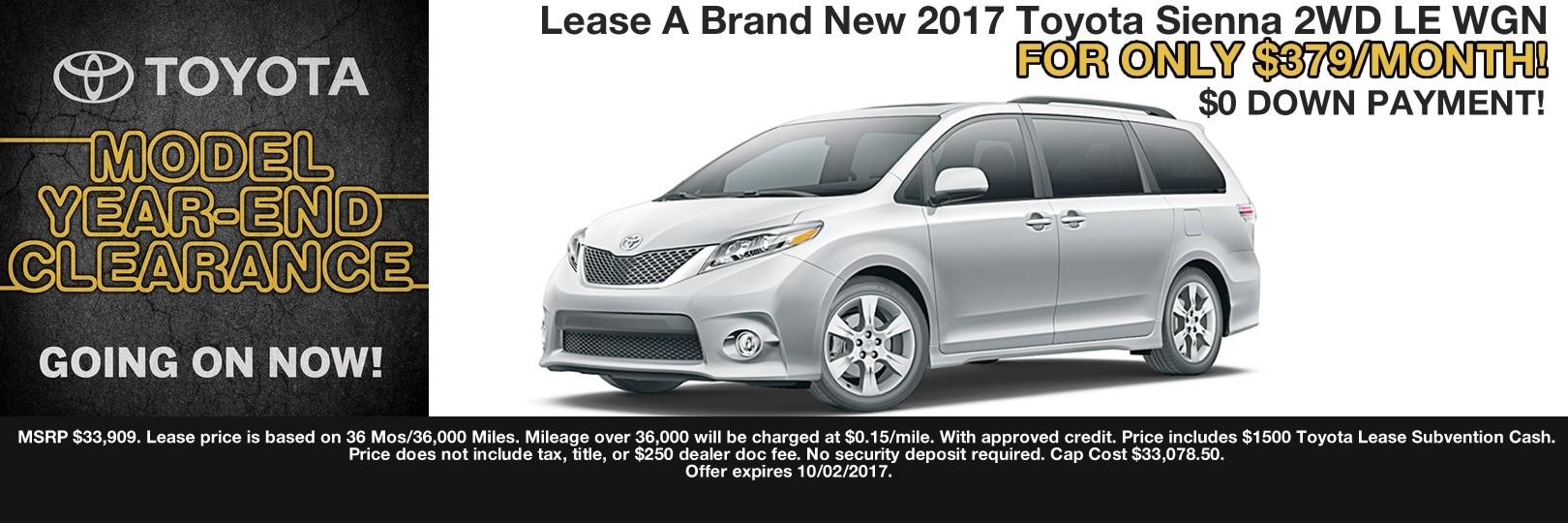 2017 SIENNA LEASE SPECIAL CAIN TOYOTA NORTH CANTON OHIO