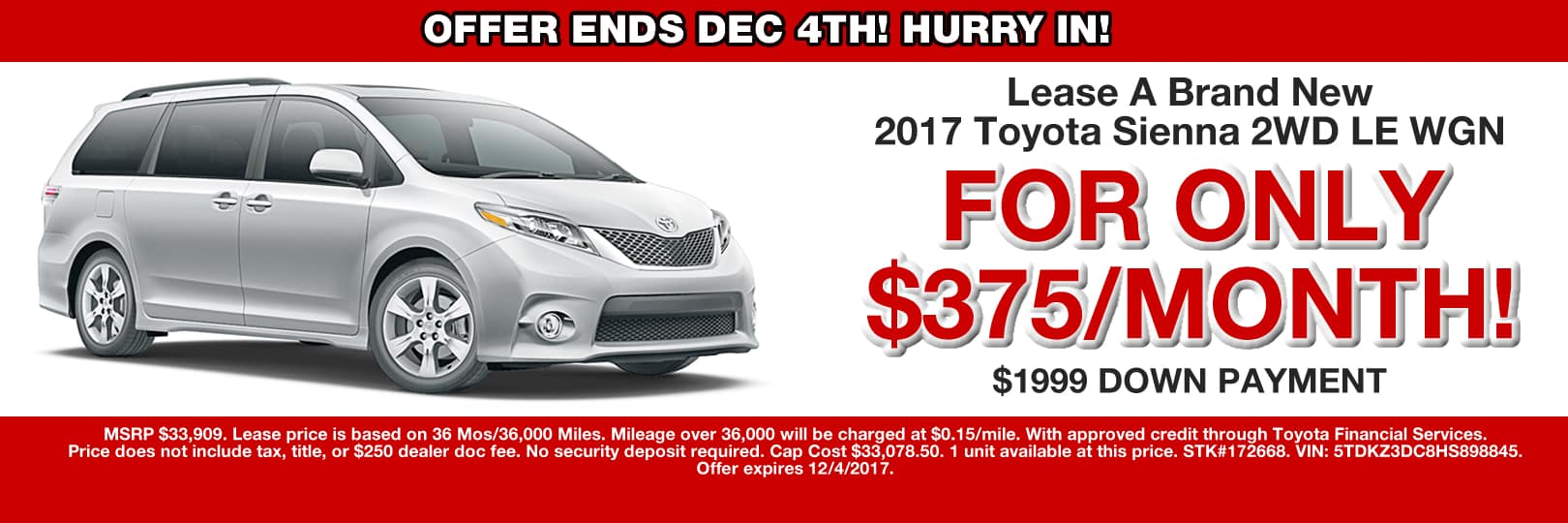 SIENNA LEASE SPECIAL CAIN TOYOTA NORTH CANTON OHIO