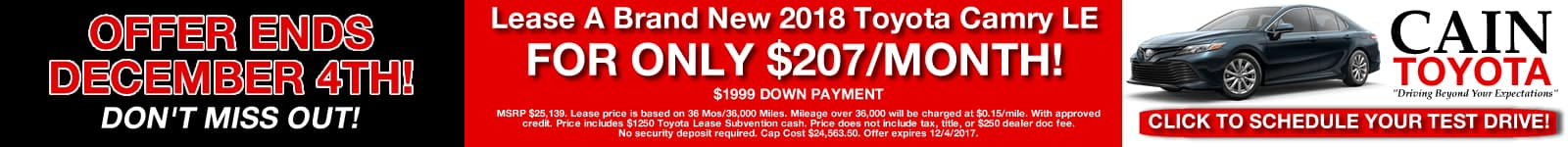 CAMRY LEASE SPECIAL CAIN TOYOTA NORTH CANTON STARK CO OHIO