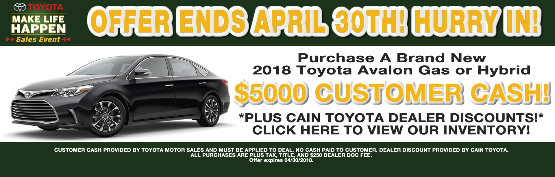 AVALON CASH REBATE CAIN TOYOTA NORTH CANTON OHIO