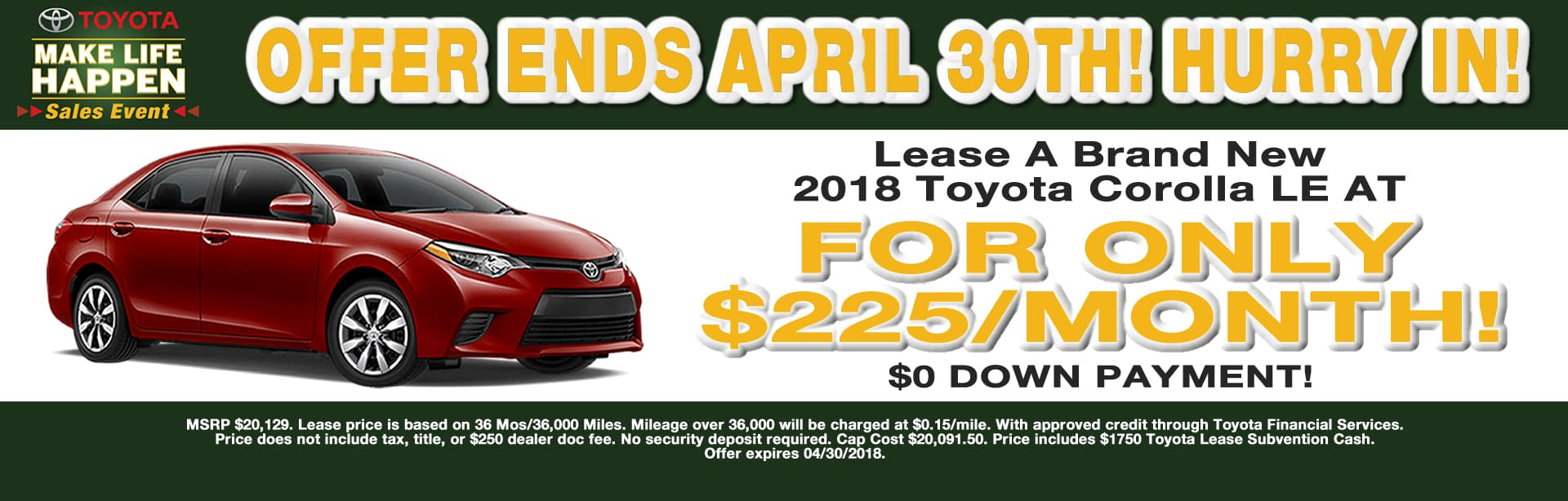 Corolla Lease Special Cain Toyota North Canton Ohio