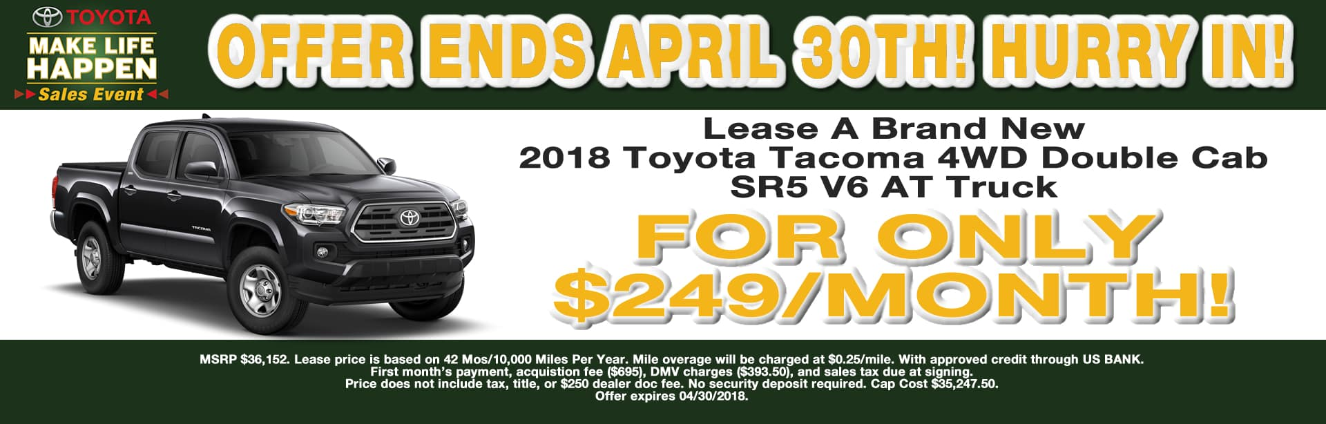TACOMA LEASE SPECIAL CAIN TOYOTA NORTH CANTON OHIO