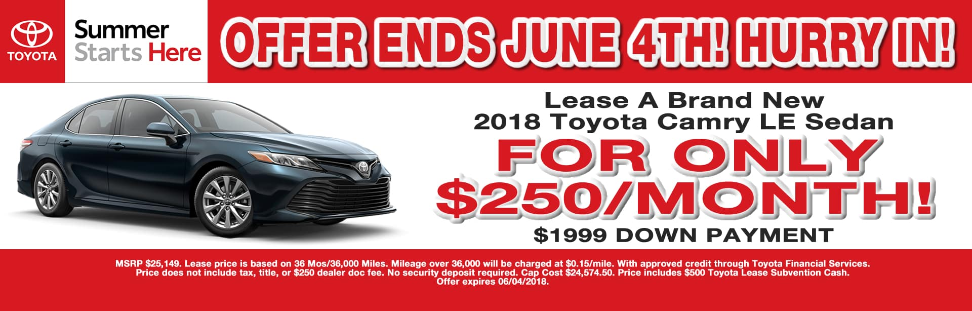 CAMRY LEASE SPECIAL CAIN TOYOTA NORTH CANTON OHIO MAY 2018