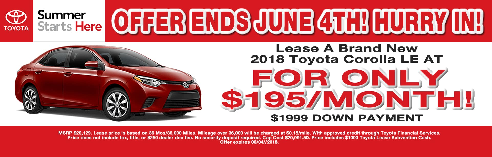 COROLLA LEASE SPECIAL CAIN TOYOTA NORTH CANTON OHIO MAY 2018