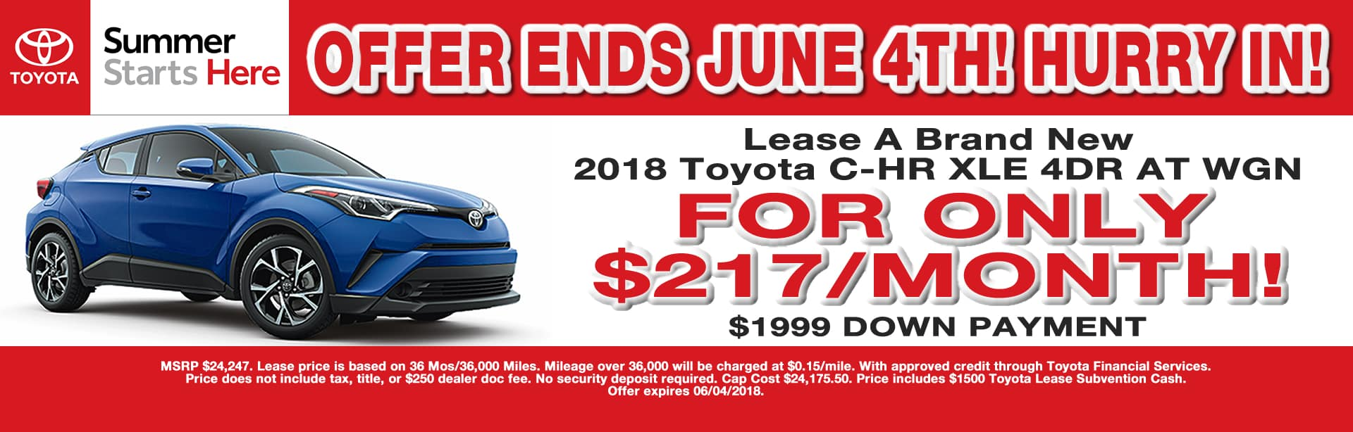 C-HR LEASE SPECIAL CAIN TOYOTA NORTH CANTON OHIO MAY 2018