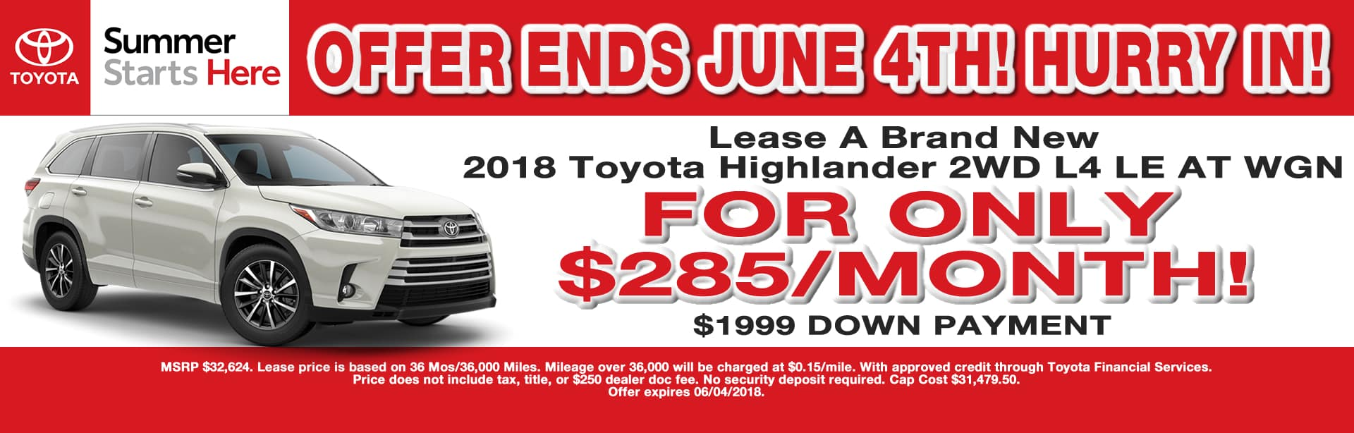HIGHLANDER LEASE SPECIAL CAIN TOYOTA NORTH CANTON OHIO MAY 2018