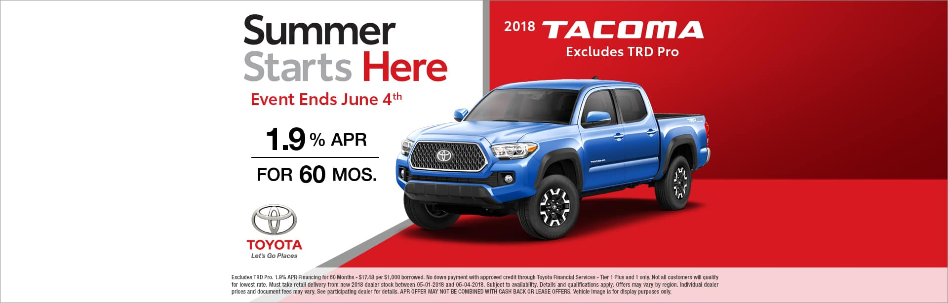 Tacoma Finance Special Cain Toyota North Canton Ohio