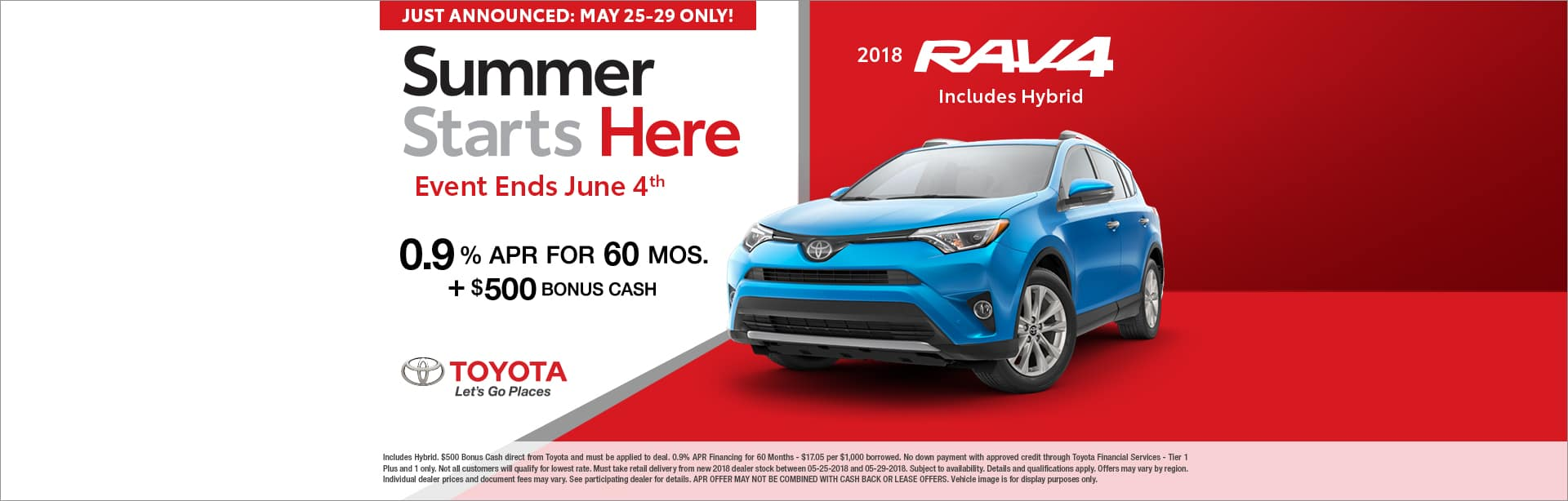 RAV4 MEMORIAL DAY SPECIAL OFFER CAIN TOYOTA NORTH CANTON OHIO