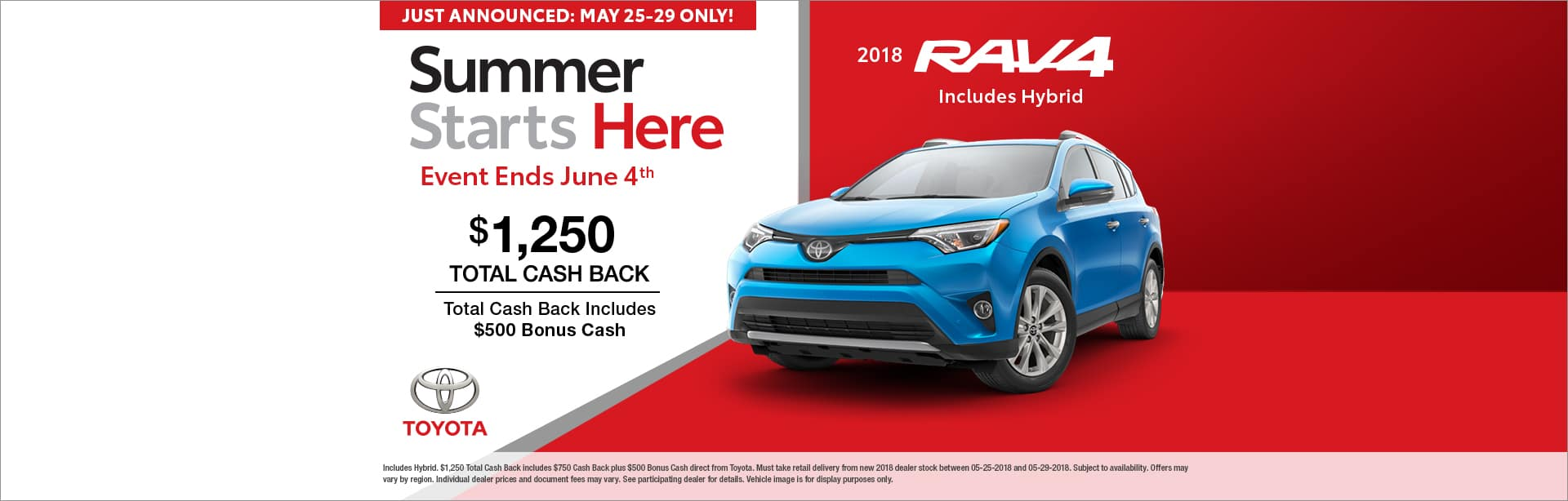RAV4 BONUS CASH OFFER CAIN TOYOTA NORTH CANTON OHIO