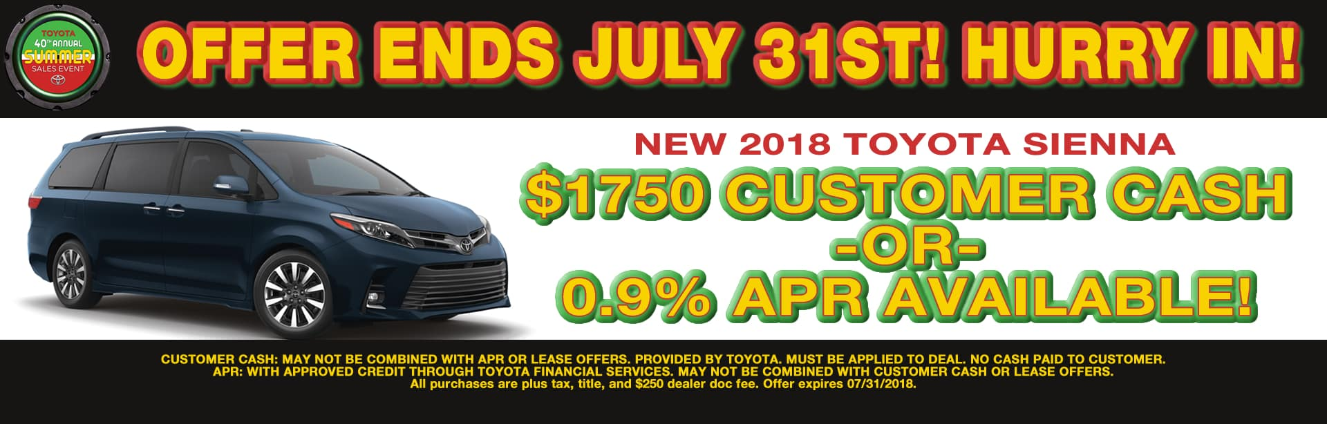 SIENNA CUSTOMER CASH APR SPECIAL OFFER CAIN TOYOTA NORTH CANTON OHIO