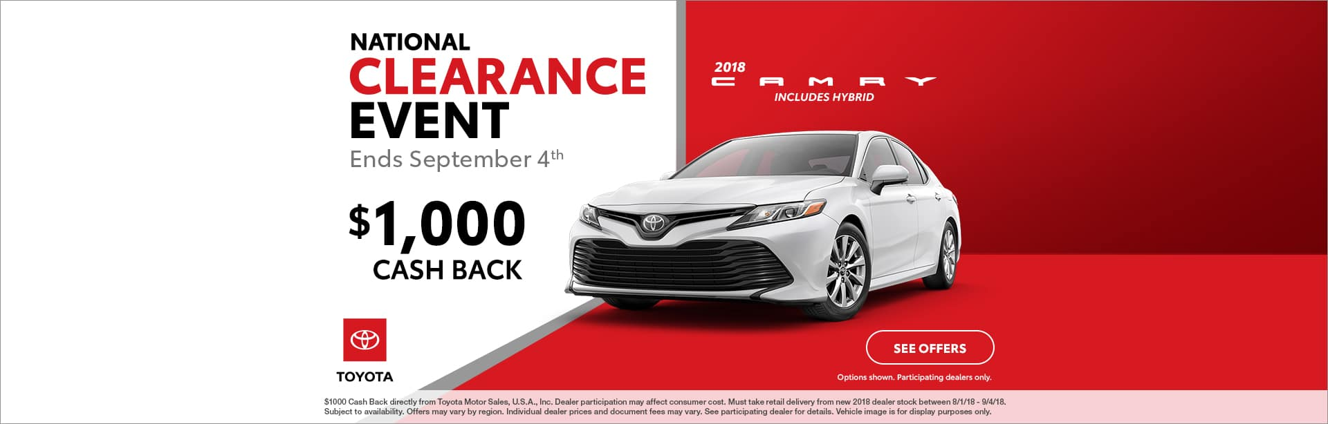 Camry Cash Back Offer Cain Toyota North Canton Ohio