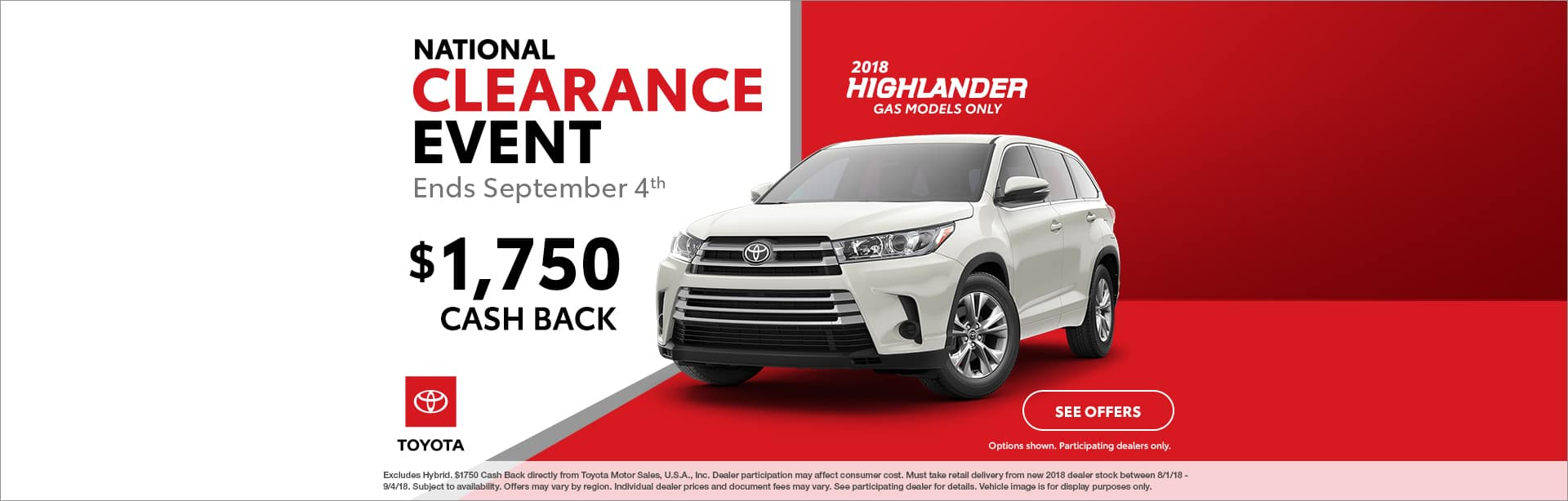 Highlander Cash Back Offer Cain Toyota North Canton Ohio