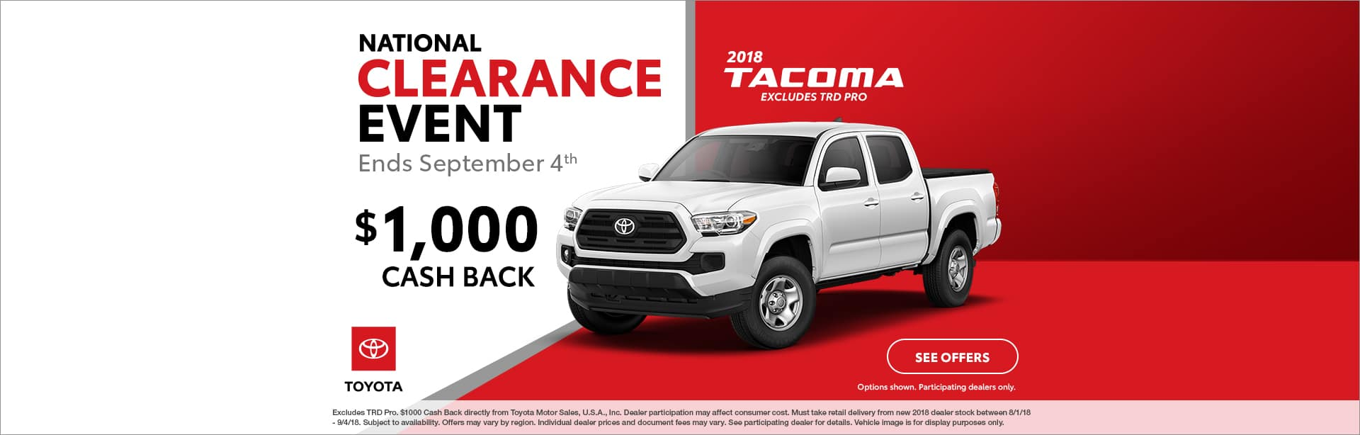 Tacoma Cash Back Offer Cain Toyota North Canton Ohio