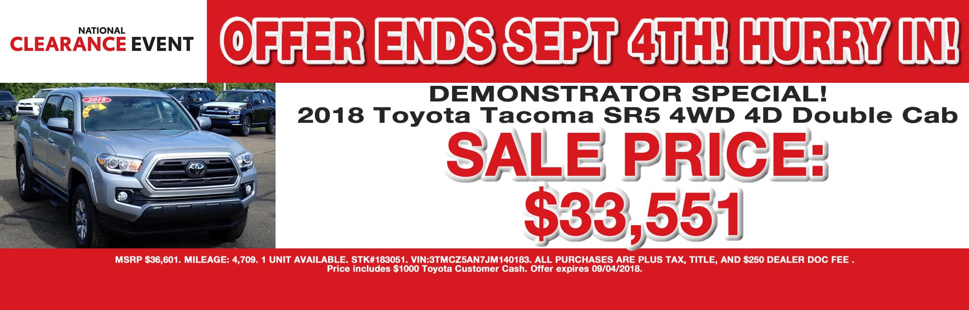 TOYOTA TACOMA DEMONSTRATOR SPECIAL OFFER CAIN TOYOTA NORTH CANTON OHIO