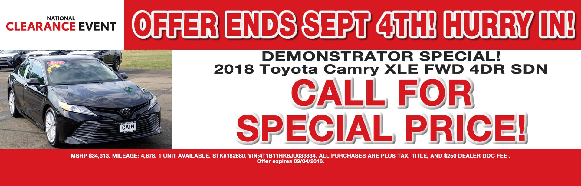 CAMRY DEMO SPECIAL PRICE OFFER CAIN TOYOTA NORTH CANTON OHIO