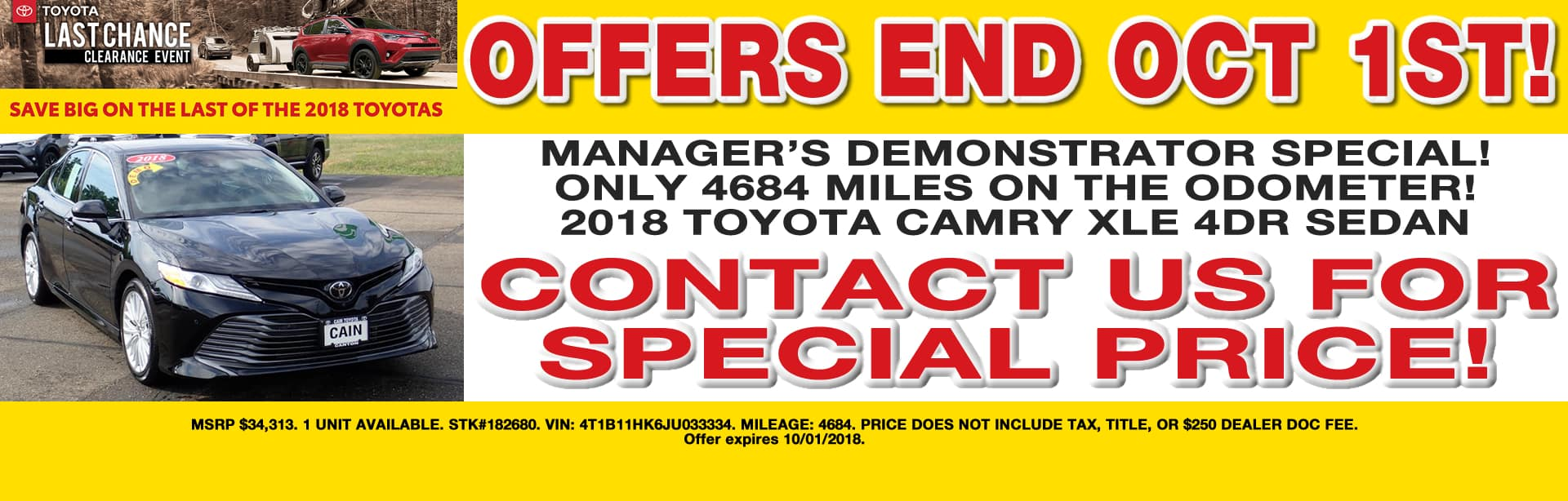 MANAGER DEMO SPECIAL CAMRY XLE CAIN TOYOTA NORTH CANTON OHIO