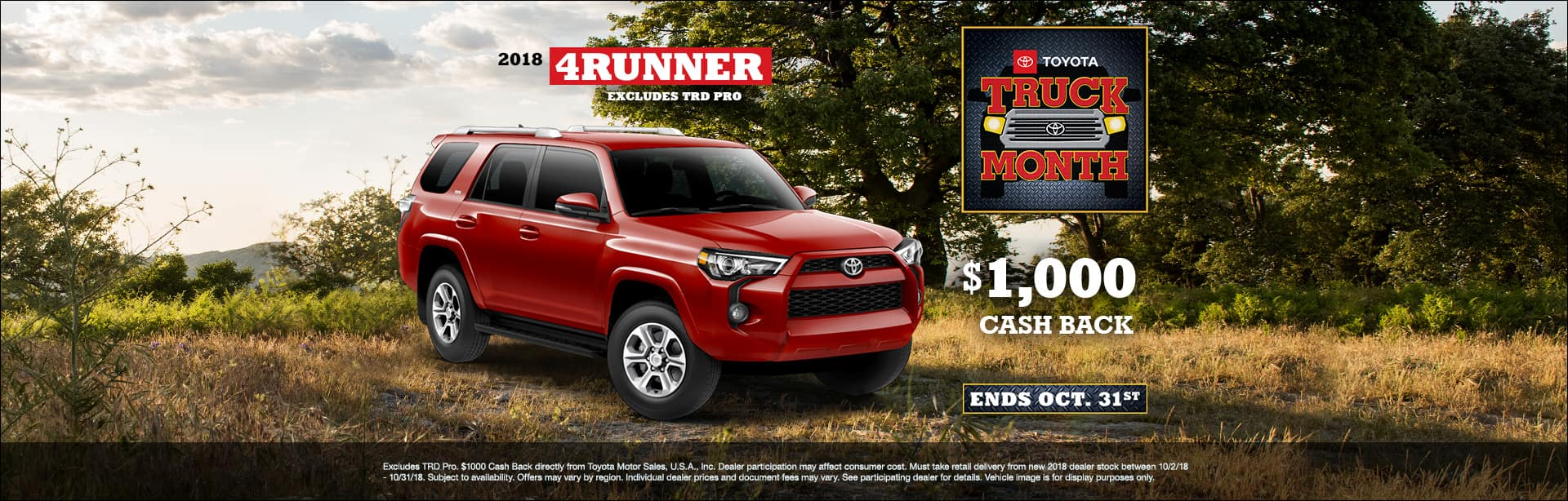 Toyota 4Runner Cash Back Offer Cain Toyota North Canton Ohio