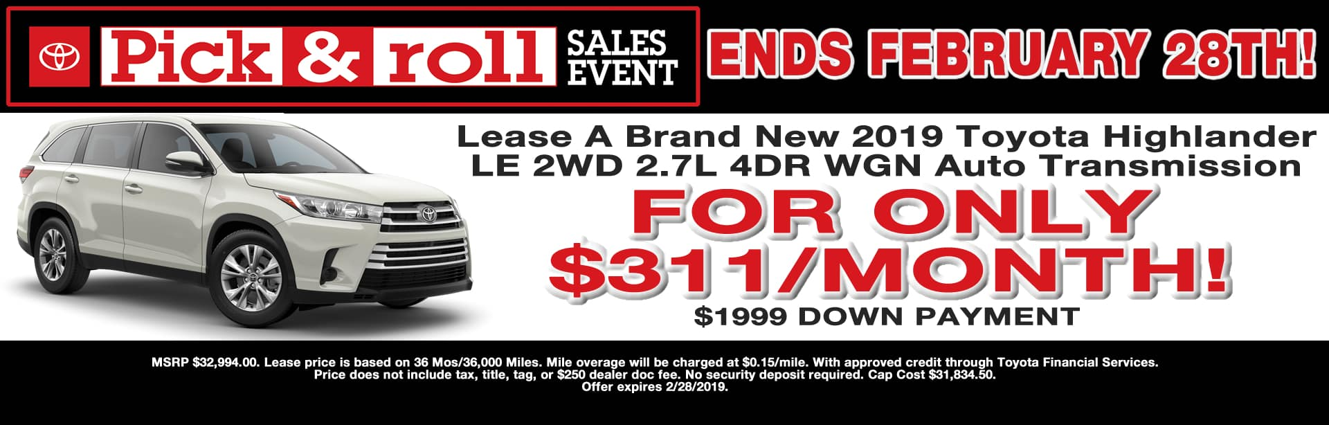 Highlander 2WD Lease Special Cain Toyota North Canton Ohio