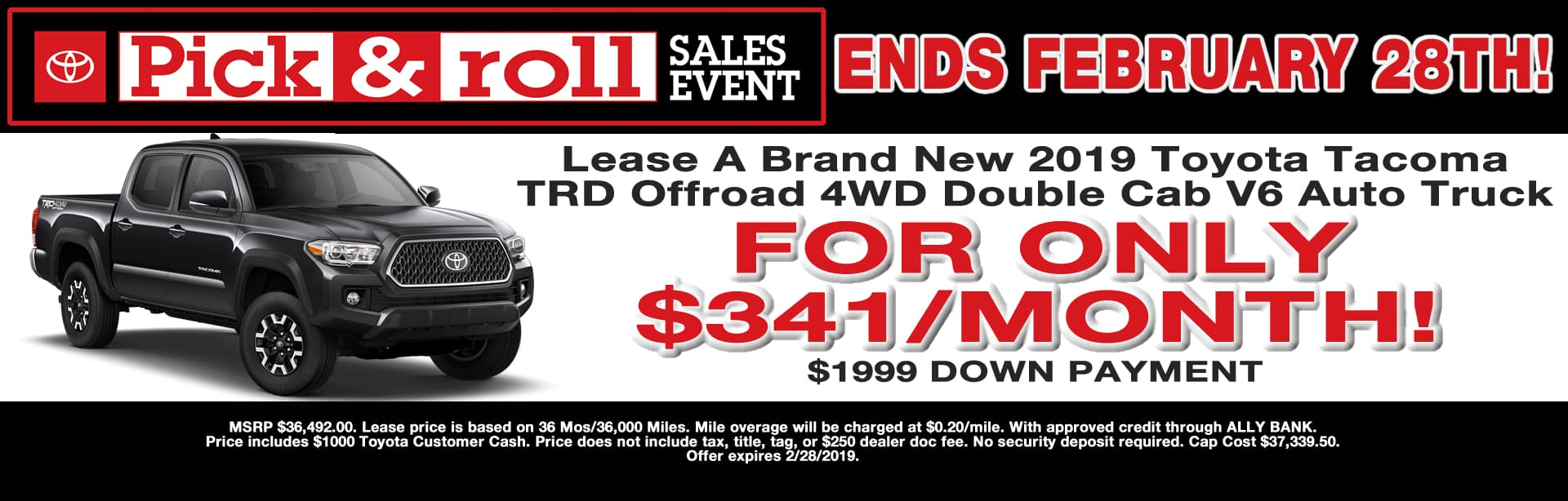 Tacoma TRD Offroad Lease Special Cain Toyota North Canton Ohio