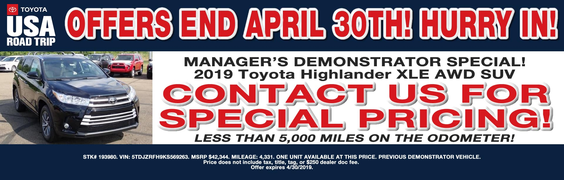 MANAGER'S HIGHLANDER DEMO SPECIAL CAIN TOYOTA NORTH CANTON OHIO