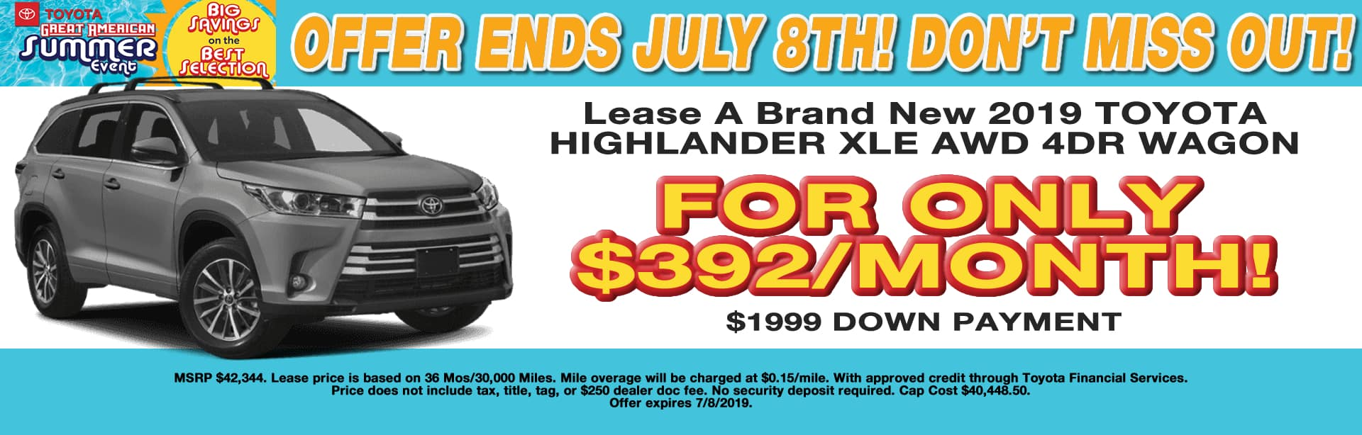 HIGHLANDER LEASE SPECIAL CAIN TOYOTA NORTH CANTON OHIO