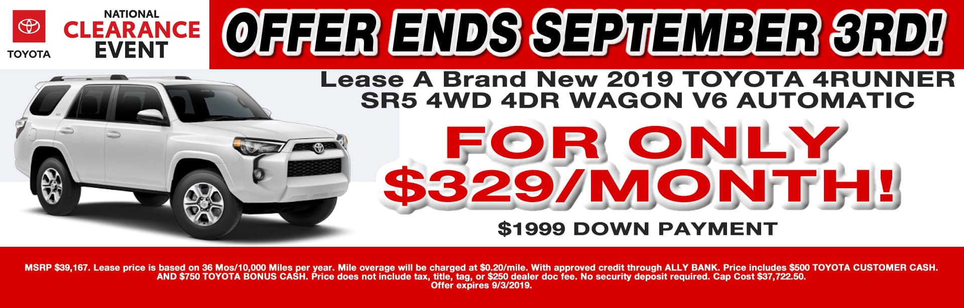 CAIN TOYOTA AUG2019 4RUNNER LEASE SPECIAL NORTH CANTON OHIO