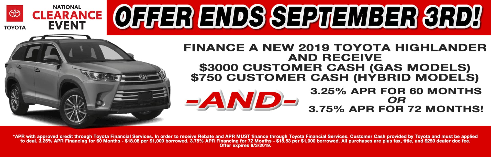 CAIN TOYOTA HIGHLANDER APR AND CASH SPECIAL NORTH CANTON OHIO