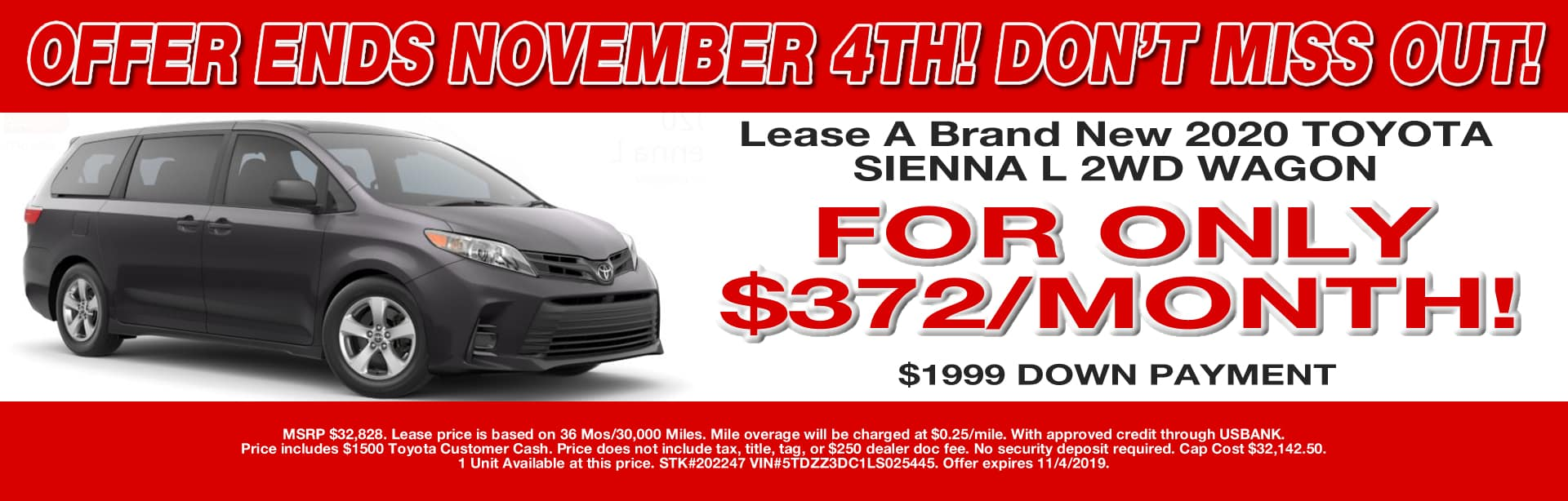 SIENNA LEASE OFFER CAIN TOYOTA NORTH CANTON OHIO OCT 19