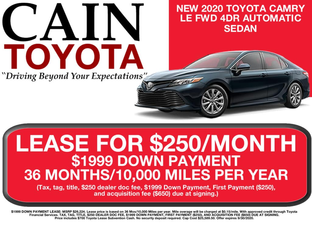 LEASE SPECIAL! New 2020 Toyota Camry LE FWD 4D Sedan