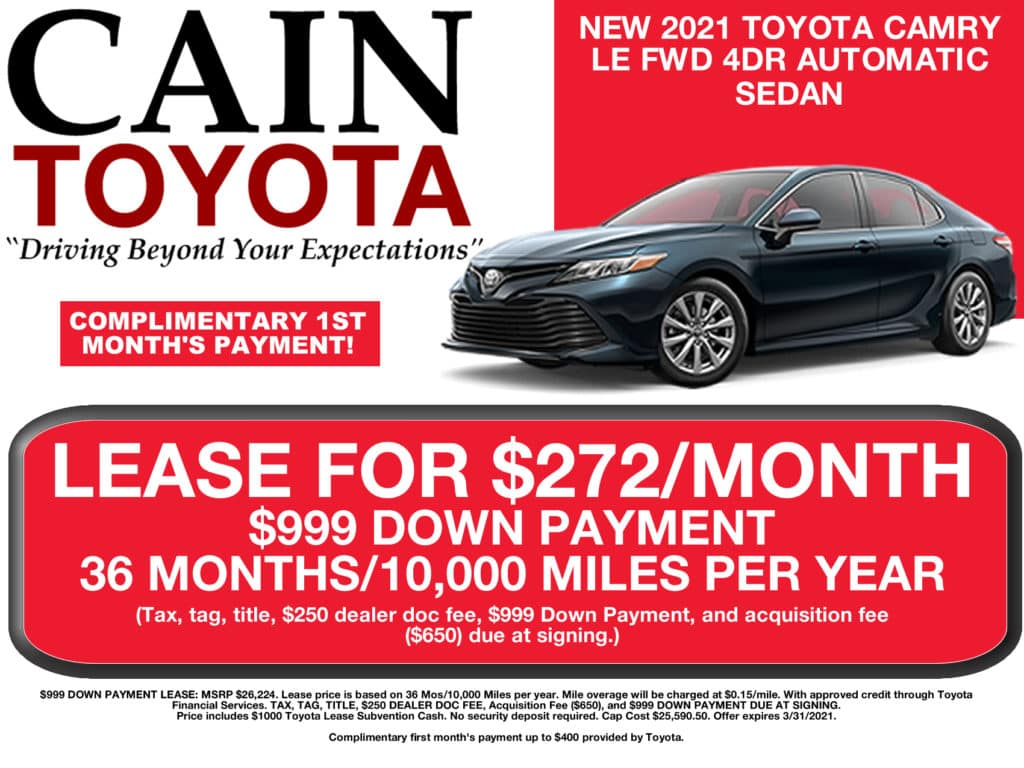 LEASE SPECIAL! New 2021 Toyota Camry LE FWD 4D Sedan