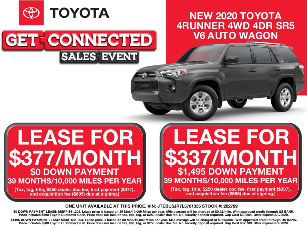 LEASE SPECIAL! New 2020 Toyota 4RUNNER 4WD 4DR SR5 V6 AUTO WAGON