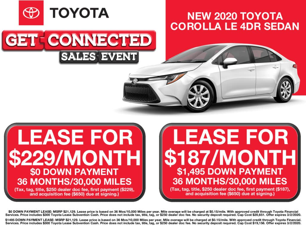 LEASE SPECIAL! New 2020 Toyota Corolla LE FWD 4D Sedan