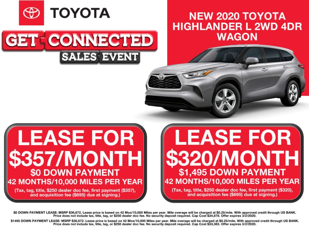 LEASE SPECIAL! New 2020 Toyota Highlander L 2WD 4DR Wagon