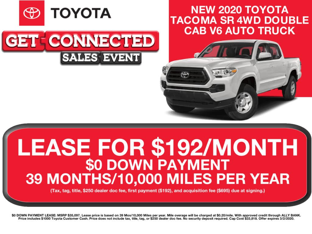 LEASE SPECIAL! New 2020 Toyota Tacoma 4WD Double Cab SR V6 Auto Truck
