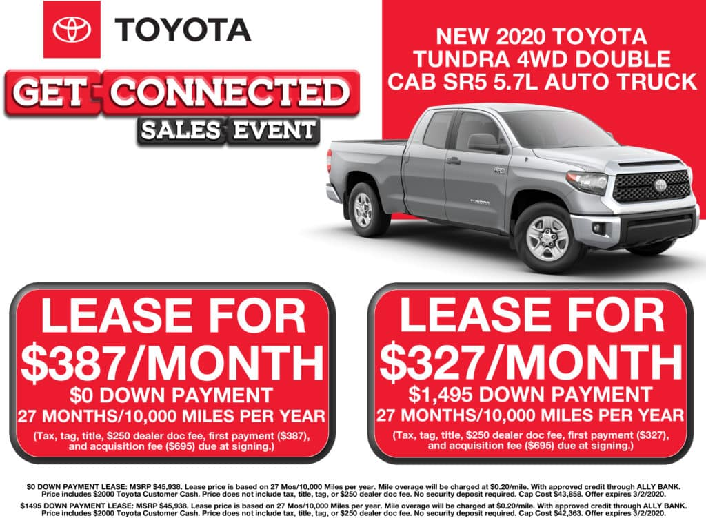 LEASE SPECIAL! New 2020 Toyota Tundra 4WD Double Cab SR5 5.7L Automatic Truck